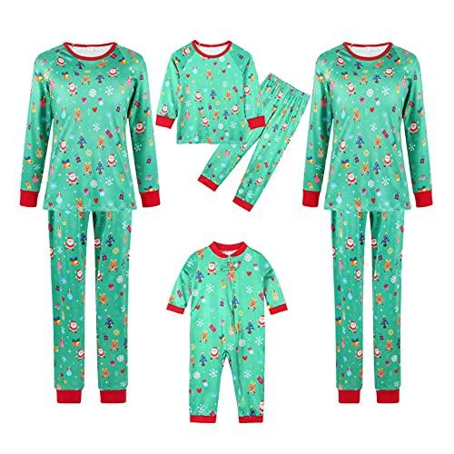 Familia a juego pijamas Navidad vacaciones ropa de dormir conjuntos de manga larga pijama ciervo ropa de dormir conjuntos de alce pijama, I-verde, XXL