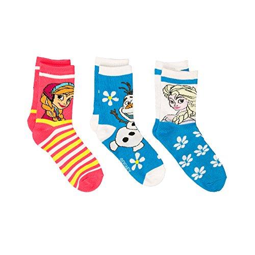 Frozen 3er Set 3 x Socken Kinder Anna ELSA Olaf die Eiskönigin Gr. 32-35