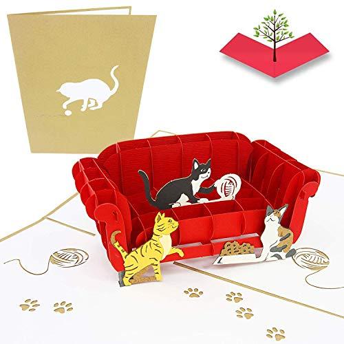 PopLife Cards Gatos que juegan en el sofá pop-up de tarjetas de felicitación