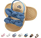 Summer Infant Baby Girls Sandals Striped Bowknot Soft Rubber Sole First Walker Shoes Blue