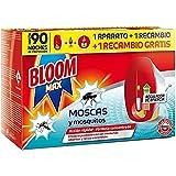 Bloom Max Insecticida Electrico Líquido contra moscas, y mosquitos común y tigre - Pack de 1 Aparato + 2 recambios