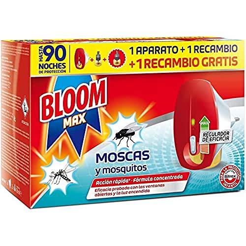 Bloom max insecticida Electrico Líquido contra moscas y mosquitos común y tigre 1 Aparato + 2 Recambios