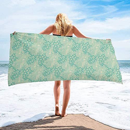 Toalla de Playa de Secado rápido Personalizada Ocean Wave, Liviana, Absorbente, de Gran tamaño, para baño, Hotel, Gimnasio, SPA, Piscina, natación (27 'x55, Verde Menta)