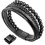 murtoo Mens Bead Leather Bracelet, Natural Bead, Steel and Leather Bracelet for Men (Black Onyx Bead)
