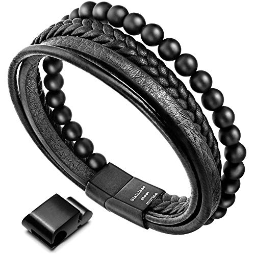 murtoo Mens Bead Leather Bracelet, Natural Bead, Steel and Leather Bracelet for Men Christmas Gift (black onyx bead)