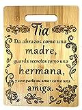 Regalo para tia: tabla de cortar de bambú grabada (22 x 30 cm) Gift for aunt in Spanish-Engraved bamboo cutting board 9'x12'