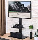 FITUEYES Swivel Floor TV Stand with Mount for 32-65 Inches Plasma LCD LED Flat or Curved Screen TVs, Universal Television Stands with Tempered Glass Base and Media Storage TT207001MB #1
