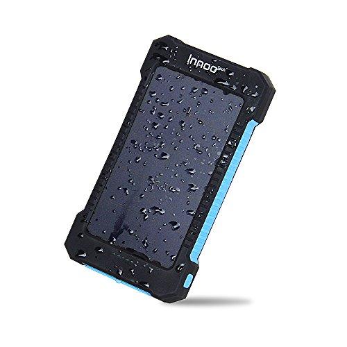 Innoo Tech 10000mAh Batterie Externe Solaire avec Deux Ports USB, Chargeur Solaire Telephone Portable Lampe de Poche LED étanche imperméable à la poussière et Résistant aux Chocs