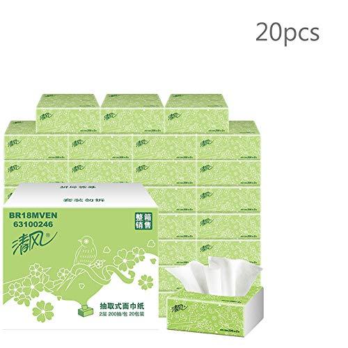GSCCC Afneembare papieren handdoeken, 200 vellen X20 zak, gemakkelijk oplosbaar toiletpapier, niet blokkeren van het toilet, puur hout pulp papier handdoeken voor dispenser