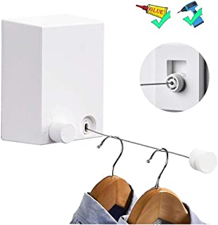 Retractable Clothesline Adjustable 13.8 Feets Stainless Steel Rope, Drill-Free & Wall Mounted Method Heavy Duty Clothes Dryer with Glue and Screws Suitable for Indoor/Outdoor(White)