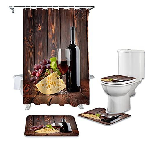 CKKHYCD Juego de Cortina de Ducha 3D Cubierta de Inodoro de Queso de Vino Tinto Cubierta de baño Alfombra Antideslizante Alfombra de Piso