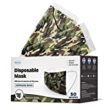 WeCare Disposable Face Mask Individually Wrapped - 50 Pack, Camo Masks 3 Ply