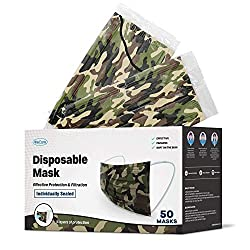 in budget affordable Individually Packed WeCare Disposable Face Masks – 50 Packs, Camouflage Masks, 3 Layers