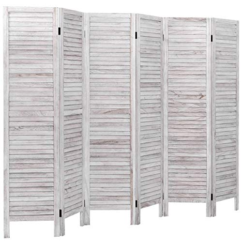 Giantex 6 Panel Wood Room Divider, 5.6 Ft Tall Oriental Folding...