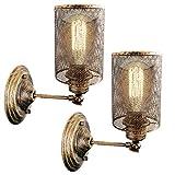 Vintage Wandlampe, E27 Industrie Retro Wandleuchte, Metall Draht Lampenschirm, max. 25 Watt für Schlafzimmer Wohnzimmer Küchen Treppenhaus Flur(Ohne Leuchtmittel) (2 STÜCKE)