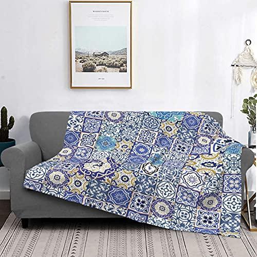 Mantas de forro polar ultra suaves, rico diseño de azulejos marroquíes antiguos Patrón de estilo patchwork Arabesco oriental, suave liviana y difusa para cama, sofá, sala de estar, 50 'x 60'