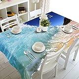 XXDD Textiles para el hogar Mantel 3D Beach Resort Paisaje Patrón Rectangular Cubierta de Mesa Mantel de Boda A5 150x210cm