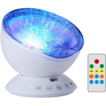 NEWKBO Remote Control Ocean Wave Projector,12 LED &7 Colors Night Light Projector, with Built-in Mini Music Player, for Living Room and Bedroom (White)