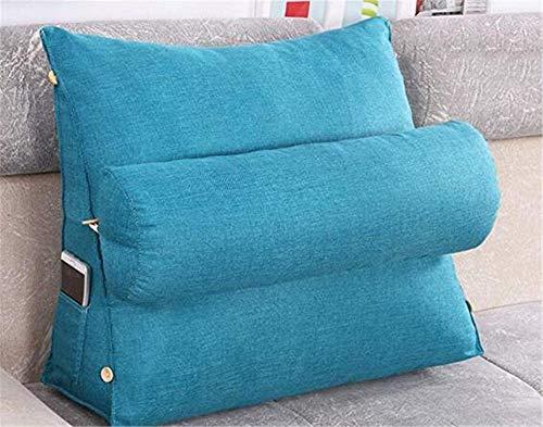 Rückenkissen Lesekissen Dreieck Keilkissen Taschen Taille Mit hat Taschen an der Seite Kissen Abnehmbarer waschbarer Bezug (Blau,60 * 50 * 20cm)