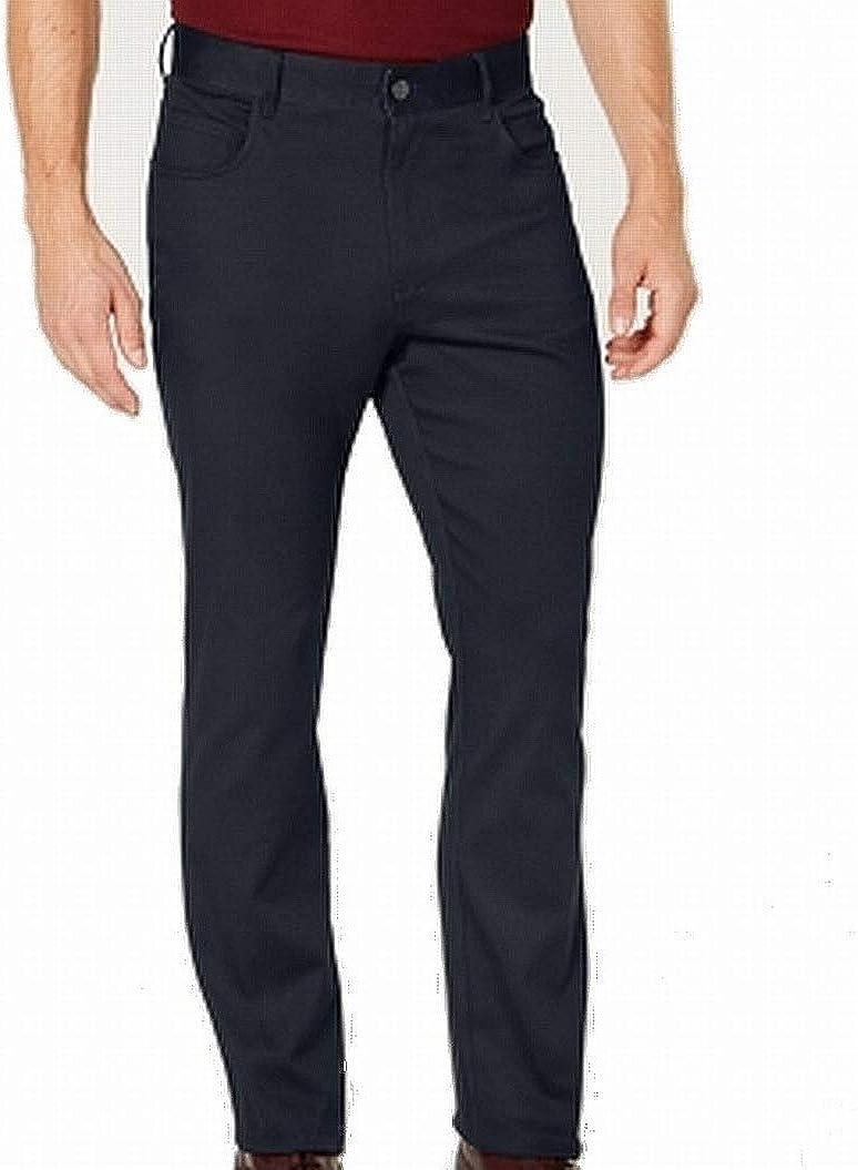 Ryan Seacrest New Distinction Navy Blue Cross Hatch Textured Casual Pants