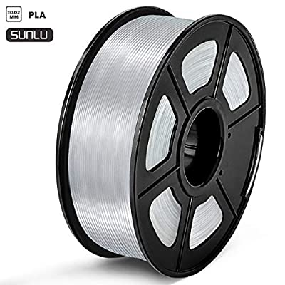SUNLU PLA Filament 1.75mm 3D Printer Filament PLA Tangle-Free 1kg Spool (2.2lbs), Dimensional Accuracy of +/- 0.02mm PLA Transparent