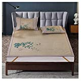 NCHEOI Colchones Ropa de Cama de enfriamiento Bambú Mats Sleeping Mats Summer Dormitorio Chino Imprimir Plegable (Color : C, Size : 180X200CM)