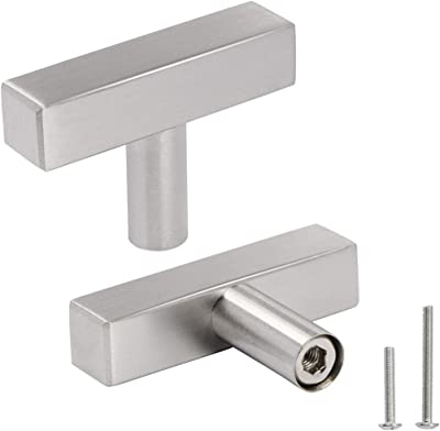 """OCQ 30 Pack Brushed Nickel Square Cabinet Knobs 2"""" Length, Modern Stainless Steel Single Hole T Bar Dresser Drawer Pulls Handles"""