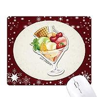 チェリーオレンジ色のイチゴ果実の甘いアイスクリーム オフィス用雪ゴムマウスパッド