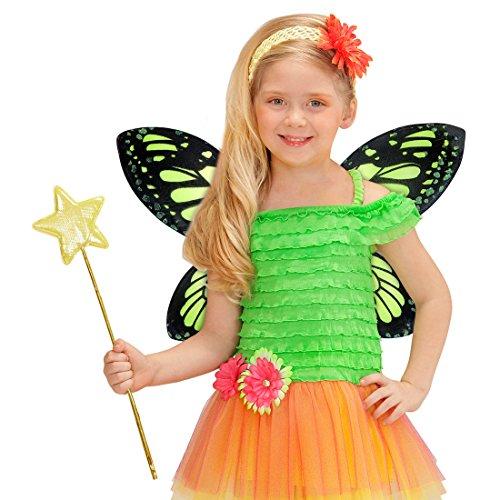 NET TOYS Alas de Mariposa para nios Alas de Elfo Verde y Negro Alerones de Tinker Bell Aletas Hada Campanilla Accesorio Disfraz de Cuento Complemento Traje Chicas