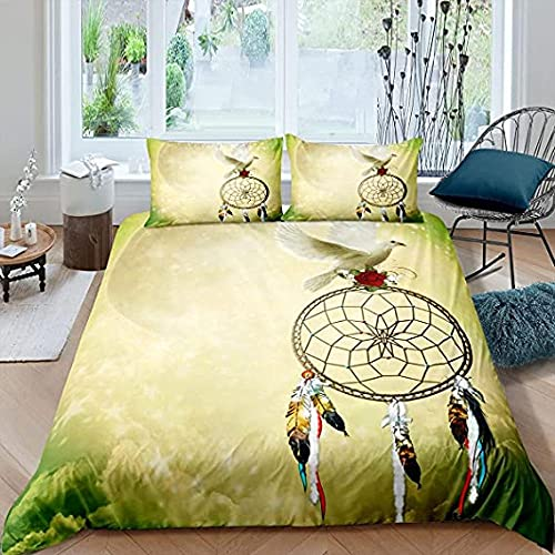 HSBZLH Dreamcatcher Duvet Cover Set for Boys Girls,Pigeon Bedding Set 3 Pcs Peace Dove Bedroom Decor Soft Comforter Cover