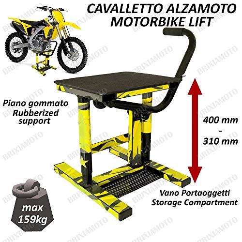 CAVALLETTO MOTO ALZAMOTO CENTRALE CROSS ENDURO MOTARD COMPATIBILE CON UNIVERSALE OFFROAD GIALLO