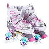 ローラースケート 子ども インラインスケート キッズ 女の子 初心者 向け ROLLER STAR サイズ調整可能 ピンク (ピンク, M)