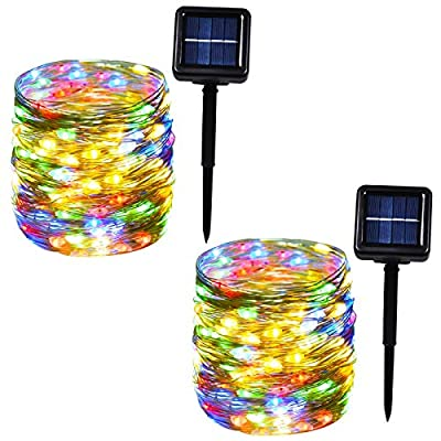 Bbrand 100-LED 33ft Solar String Lights, Multicolor Solar Fairy Lights, Outdoor with Copper Wire, Decorative Lights for Wedding, Party, Garden, Patio, Yard, Christmas (Multi-Color, 2-Pack)