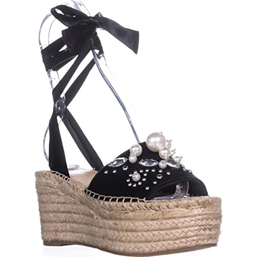 G By Guess Womens Razzle Open Toe Casual Platform Sandals, Black Satin, Size 6.5