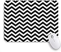 ECOMAOMI 可愛いマウスパッド モダンな黒と白のジグザグパターン 滑り止めゴムバッキングマウスパッドノートブックコンピュータマウスマット