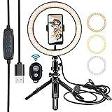 10 Pulgadas Selfie Ring Light Set Anillo de luz de Relleno Almacenamiento portátil Accesorios de Maquillaje Regulables RGB con trípode Clip para teléfono móvil Control Remoto Bluetooth
