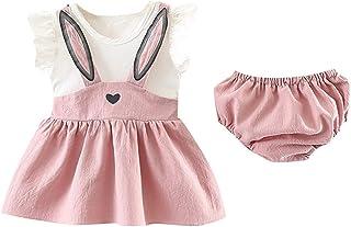 Ropa Bebe Niña Verano Fossen - 2PC/Conjuntos -Conejo Tutu Vestido sin Mangas + Pantalones Cortos - para Recien Nacido 0 a 24 Meses