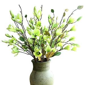 "cn-Knight Artificial Flower 6pcs 30"" Long Stem Silk Magnolia Flower with 7 Blossoms and 2 Buds for Home Décor Housewarming Gift Wedding Bridal Bouquet Centerpiece Reception Hotel Restaurant"