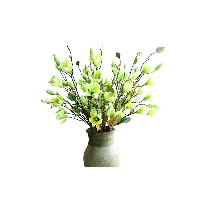 silk flower arrangements cn-knight artificial flower 6pcs 30'' long stem silk magnolia flower with 7 blossoms and 2 buds for home décor housewarming gift wedding bridal bouquet centerpiece reception hotel restaurant