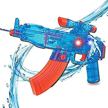 Battery Operated Motorized Automatic Electric Super Water Gun Soaker Blaster  Blue  AK-47