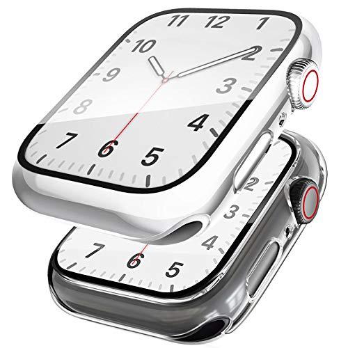 SSEIHI Funda[2 Unidades] Compatible con Apple Watch Series SE/6/5/4 44mm,Estuche con TPU Protector de Pantalla,Caja Protector Anti Choque Case para IWatch Series SE/6/5/4-Silver/Clear