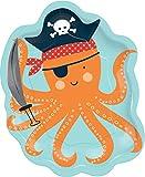 8 geformte Teller * PIRATEN OKTOPUS * zum Kindergeburtstag und Mottoparty | Pirates Krake Motto Party Kinder Geburtstag Pappteller Partyteller