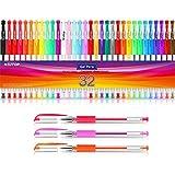 Bolígrafos de gel para libros para colorear adultos, juego de marcadores de gel de 32 colores con un 40% más de tinta para niños Dibujo, garabatear …