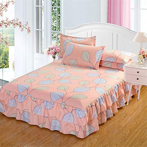Sale!! Bishelle-hm Duvet Cover Fashion Thick Korean Version of The Double Lace Bed Skirt Three-Piece Non-Slip Mattress Cover Queen Bed Bed Skirt (Color : 19, Size : 150200cm)