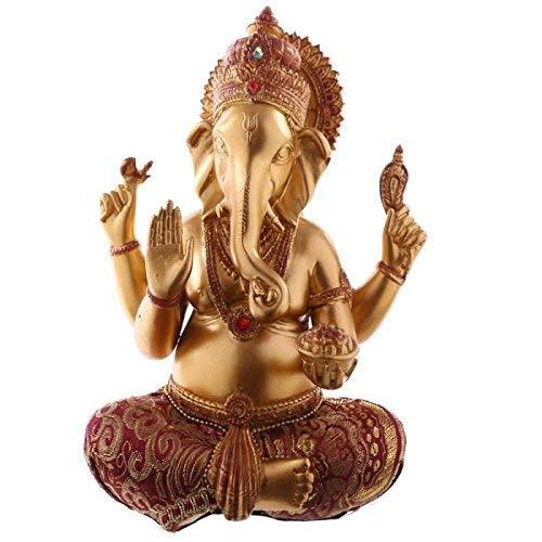 Boeddha To Boeddha Ganesh rood Ed goud met jurk van stof 19 cm