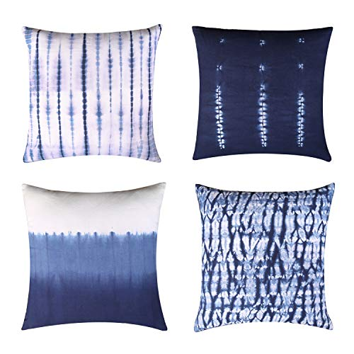 RAJRANG BRINGING RAJASTHAN TO YOU Shibori Throw Pillow Covers - White and Blue Cushion Covers Set of 4 Tie Dye Pattern for Living Room Bedroom Sofas Home Decoration 18 x 18 Inches