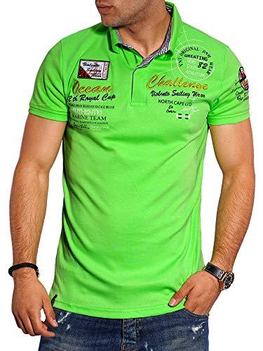 behype. Herren Kurzarm Polo-Shirt T-Shirt Polo-Hemd 20-7282 Grün M