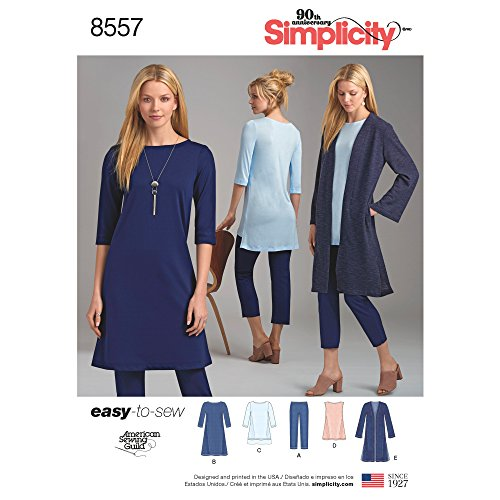 Simplicity US8557A Easy to Sew Women's Knit Pants, Tunic, Duster, and Dress Sewing Patterns, Sizes XXS-XXL