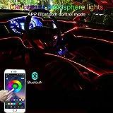 TABEN Luce Ambientale per Auto RGB Controllo App Lampada Decorativa Lampada Fai da Te Refit Tubo in Fibra Ottica Flessibile 64 Colori Illuminazione Interna Atmosfera Luce 1W DC 12V 4m