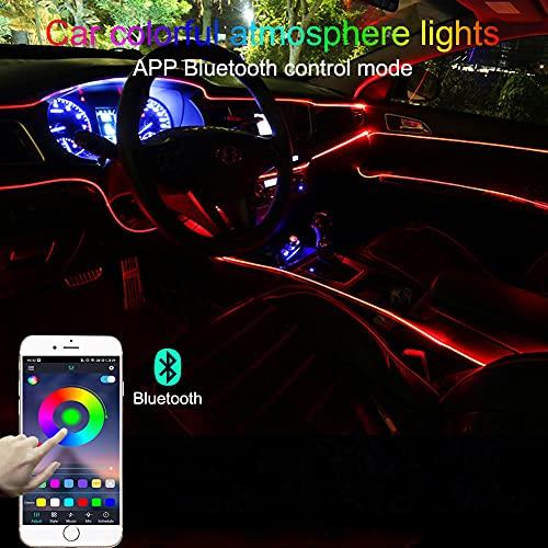 TABEN Luz Ambiental del Coche RGB App Control Lámpara de luz Decorativa DIY Reajuste Tubo de Fibra óptica Flexible 64 Colores Iluminación Interior Atmósfera Luz 1W DC 12V 4m
